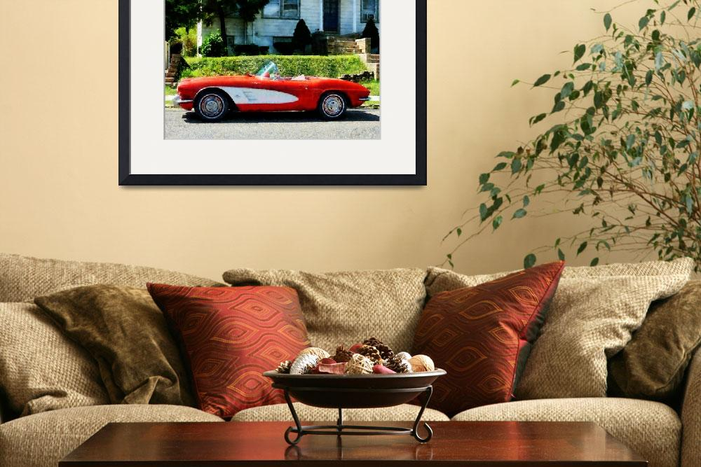 """""""Red And White Corvette Convertible&quot  by susansartgallery"""