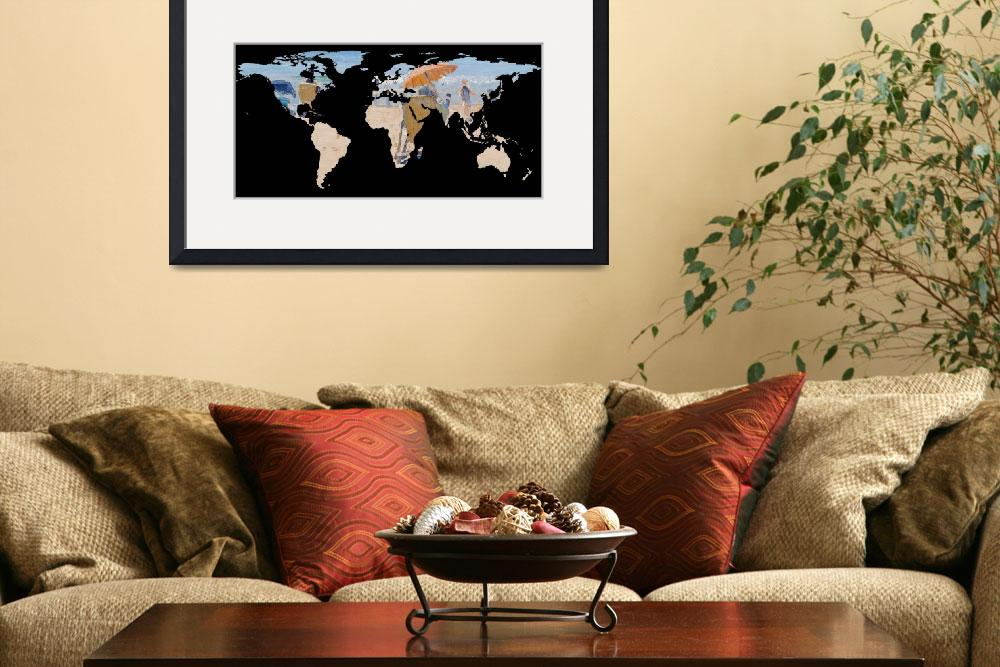 """""""World Map Silhouette - Day at The Beach&quot  by Alleycatshirts"""