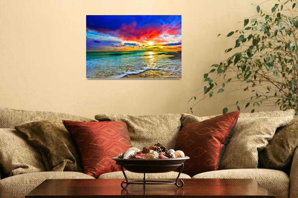 """red sunset art print green seascape blue landscape&quot  (2014) by eszra"