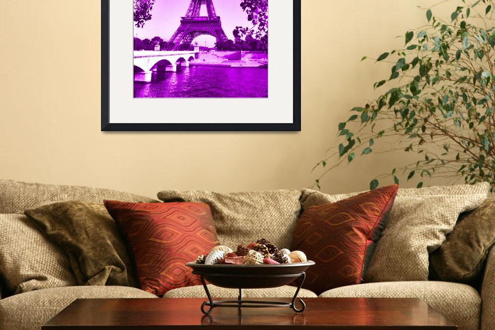 """""""Eiffel Tower Seine River Violet cropped&quot  (2013) by TheNorthernTerritory"""