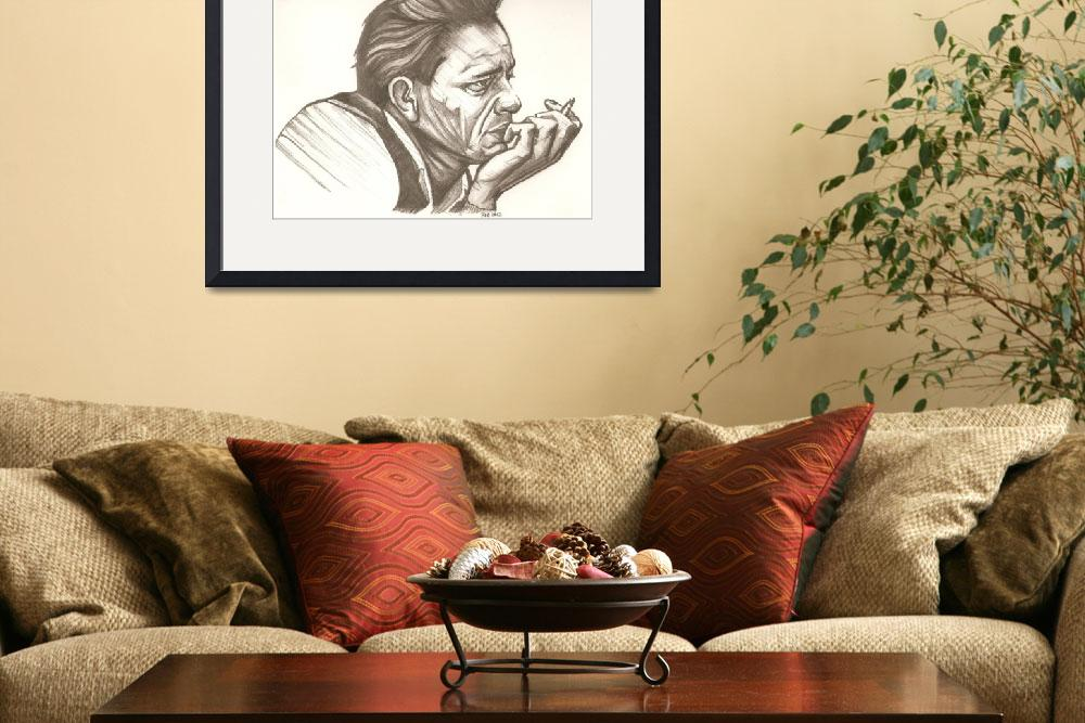 """""""Johnny Cash drawing&quot  (2012) by RobCrandall"""