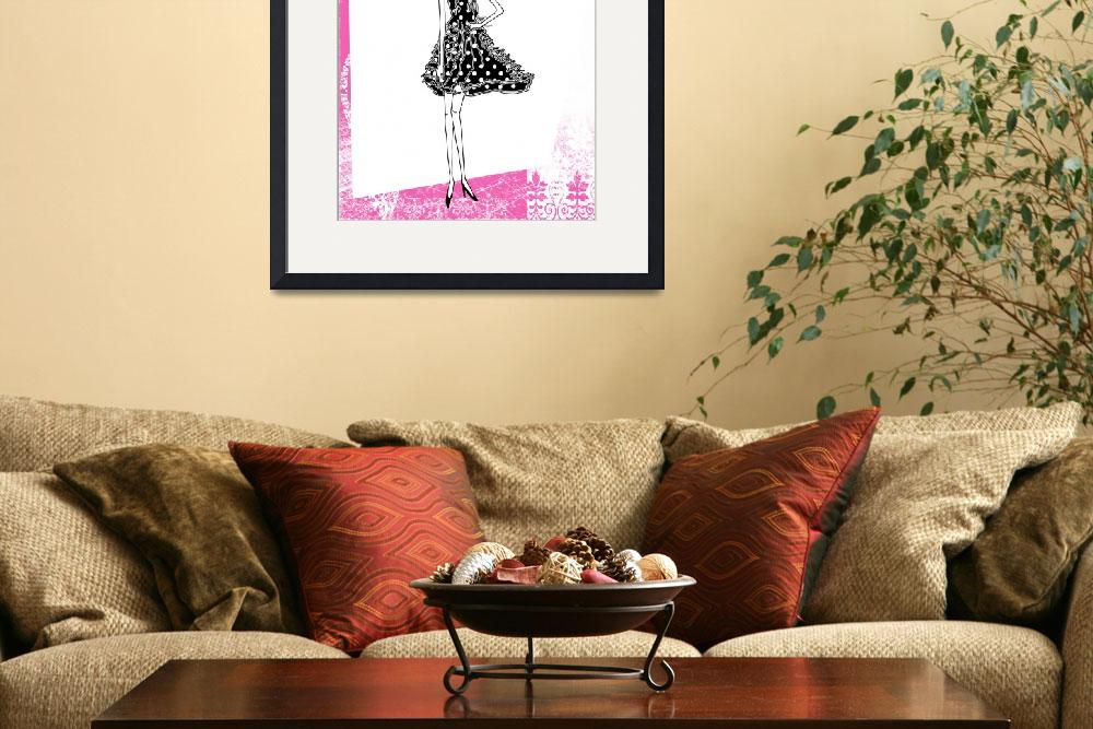 """""""Illustration...Fashion Girl in Hot Pink 1""""  (2011) by chowarddesigns"""