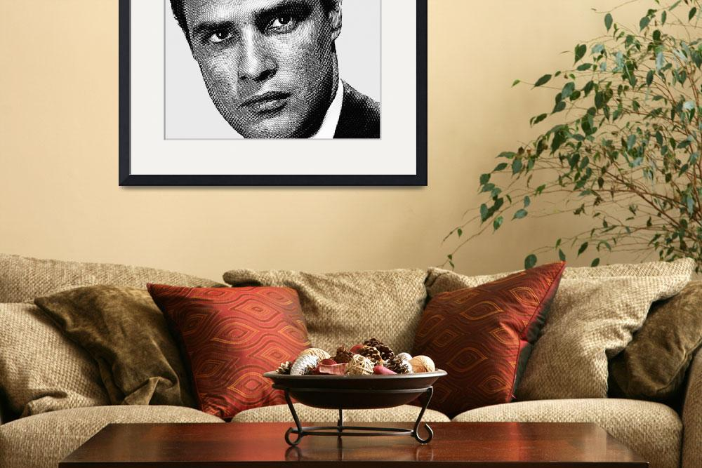"""Young Marlon Brando Etching Black Gray&quot  by RubinoFineArt"