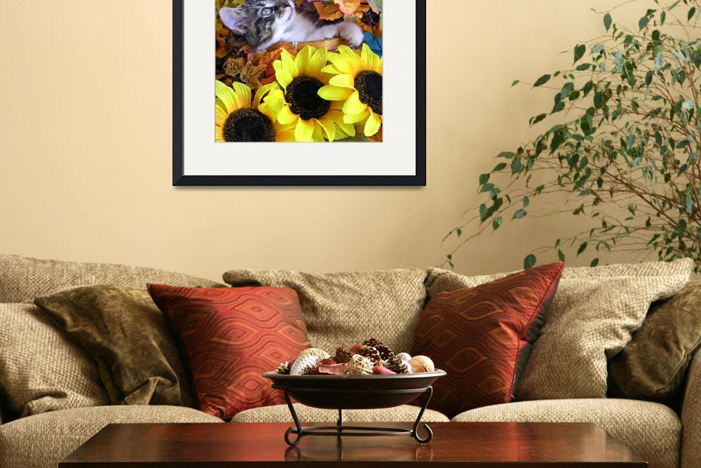 """Kitty Cat Kitten Looking Up,Lounging, Fall Flowers&quot  (2009) by Chantal"