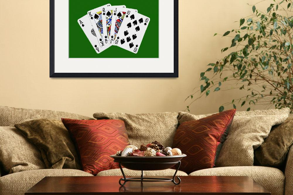 """""""Playing Cards Royal Flush on Green Background&quot  (2012) by NatalieKinnear"""