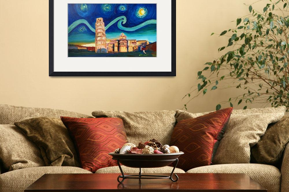 """""""Starry Night in Pisa with Leaning Tower and Van Go&quot  (2016) by arthop77"""
