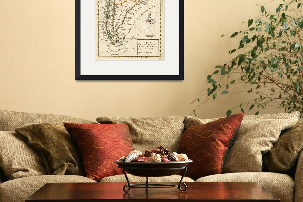 """""""Vintage Map of Chile and Argentina (1732)&quot  by Alleycatshirts"""