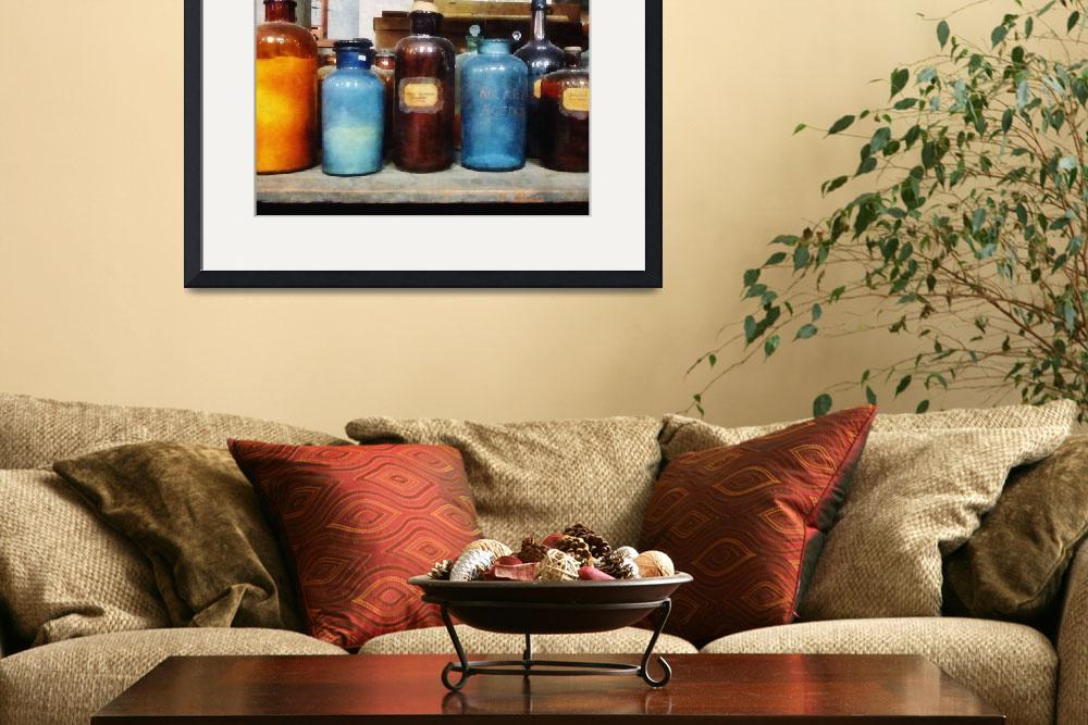 """""""Orange, Brown and Blue Bottles of Chemicals&quot  by susansartgallery"""
