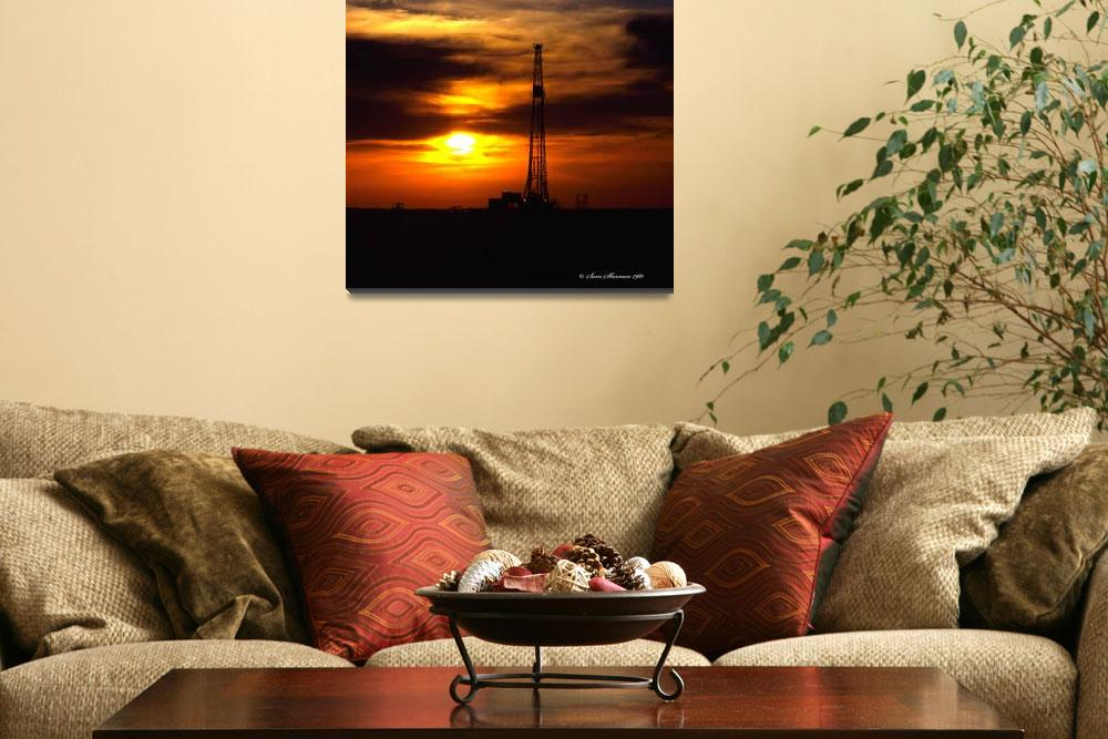 """Oklahoma Oil Rig Sunset""  (1980) by SamSherman"