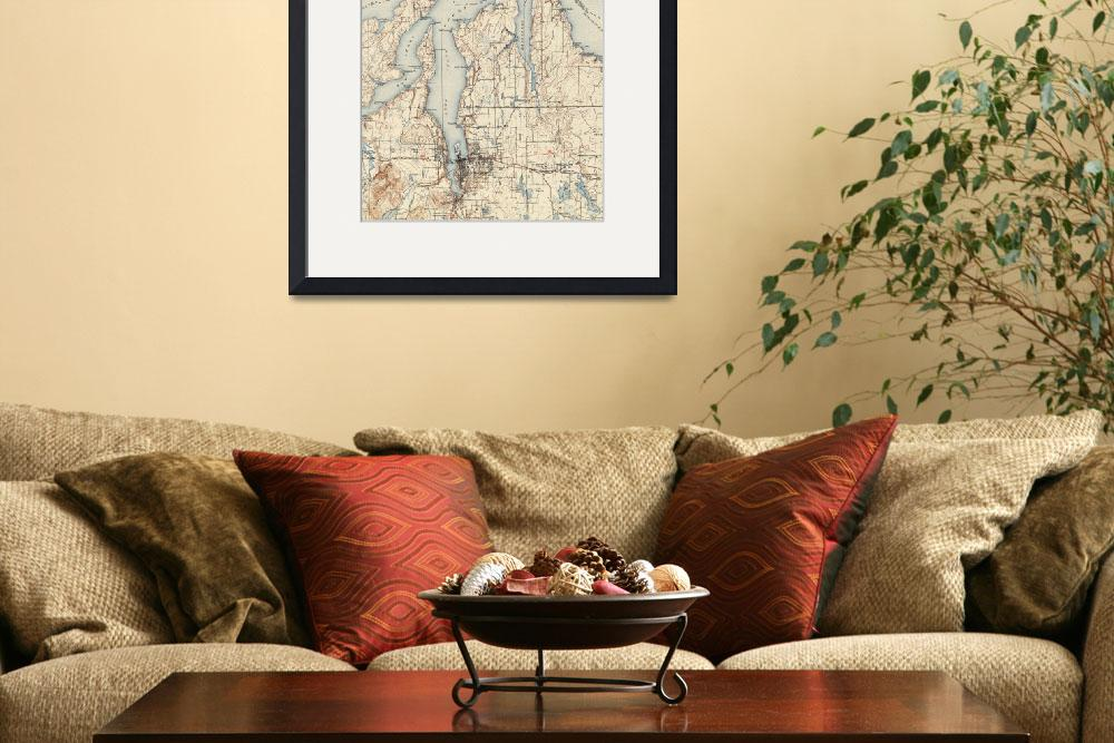 """""""Vintage Map of The Puget Sound (1934)&quot  by Alleycatshirts"""