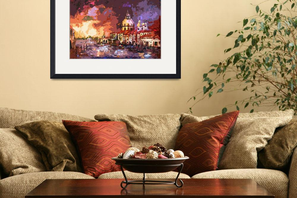 """Venice Sunset Modern Decorative Art""  (2012) by GinetteCallaway"