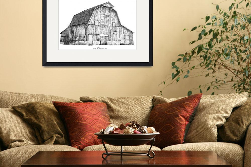 """""""Pen and Ink Stippled Barn drawing""""  (1997) by DulceDiane"""