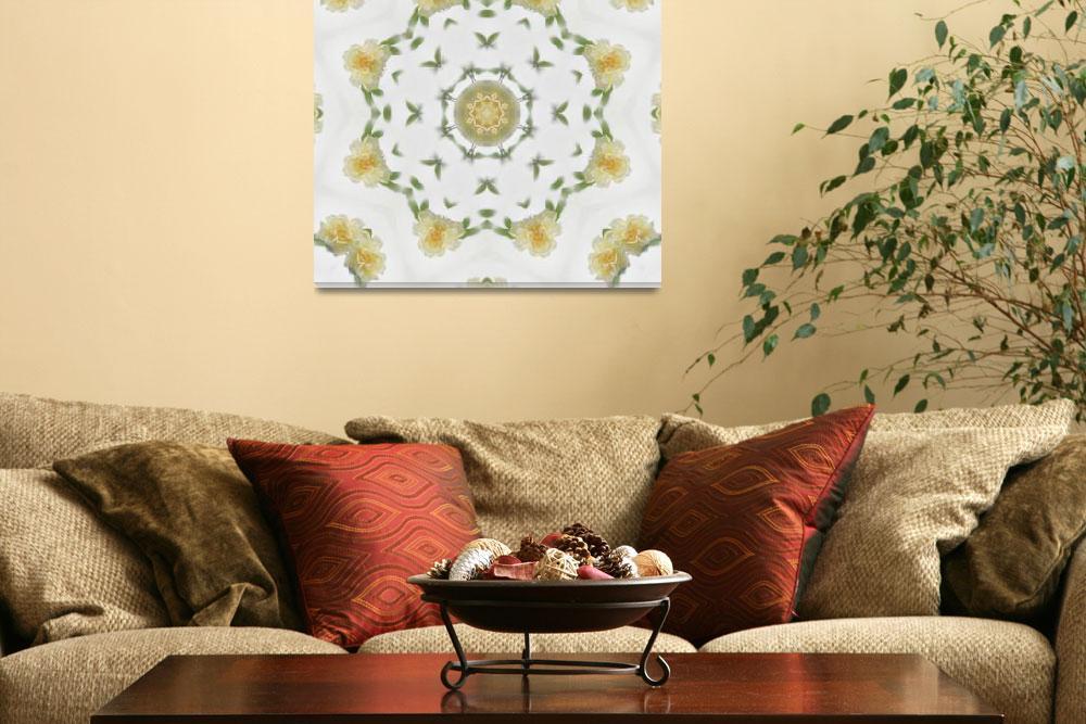 """Creamy Yellow Rose Kaleidoscope Art 4&quot  (2009) by ChristopherInMexico"