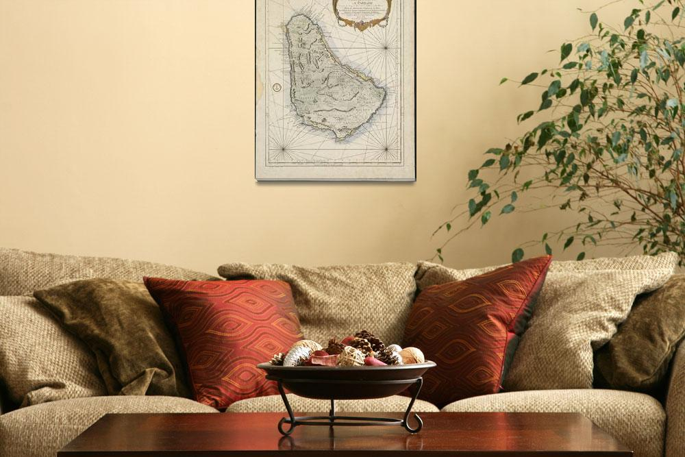 """Vintage Map of Barbados (1758)""  by Alleycatshirts"
