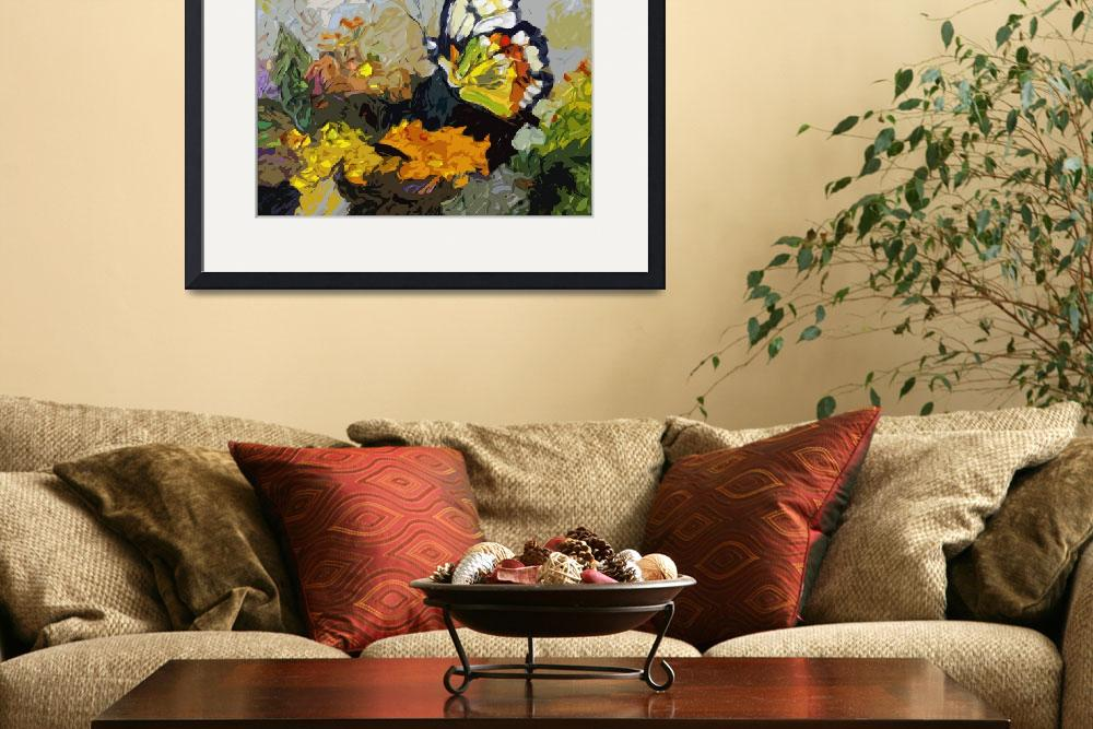"""Abstract Butterfly on Lantana""  (2012) by GinetteCallaway"