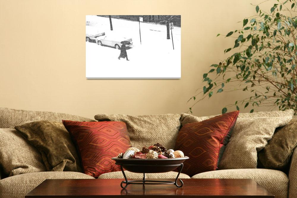 """""""Men and His Umbrella Fight the Blowing Snow Chicag""""  (2012) by CEMiller"""