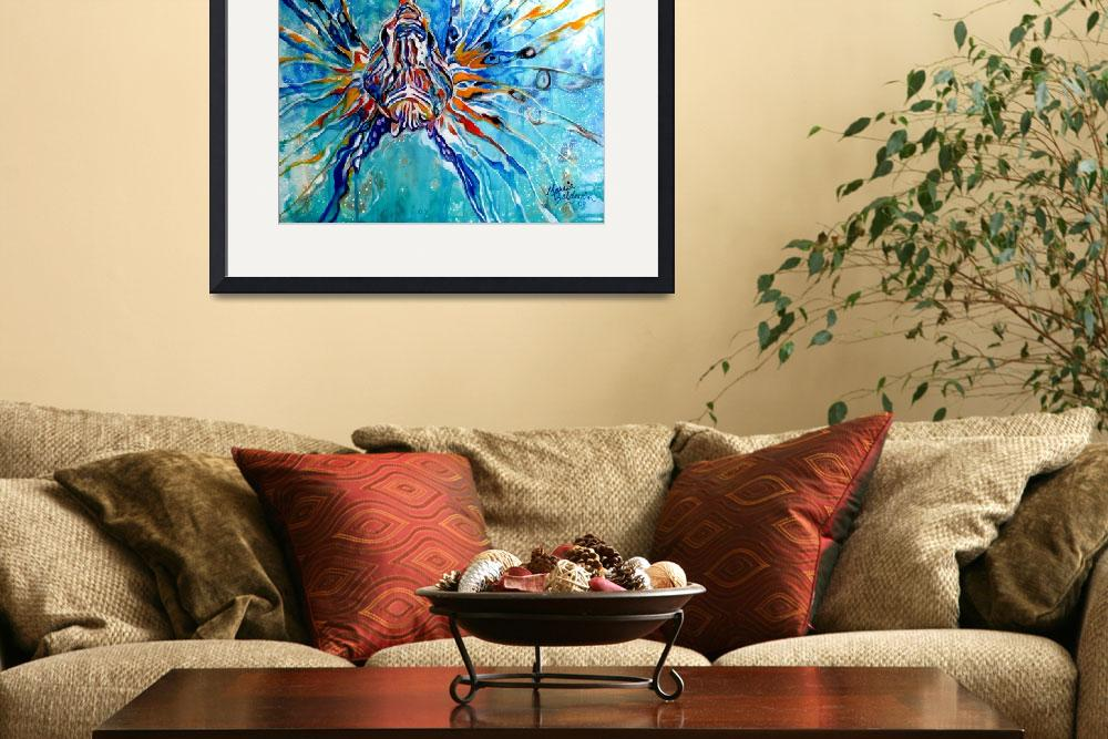 """""""LION FISH BLUE&quot  (2013) by MBaldwinFineArt2006"""