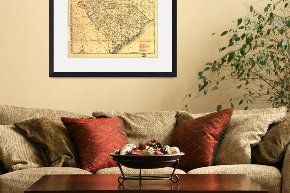 """""""Vintage Map of The South Carolina Railroads (1900)&quot  by Alleycatshirts"""