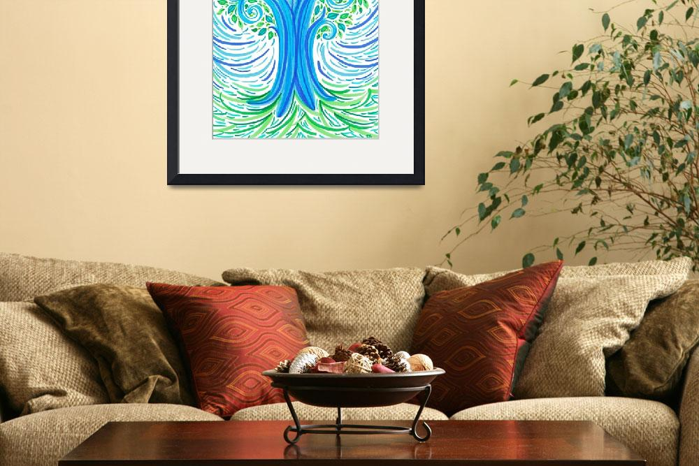 """""""BlueGreen Tree&quot  by ADrawingADay"""