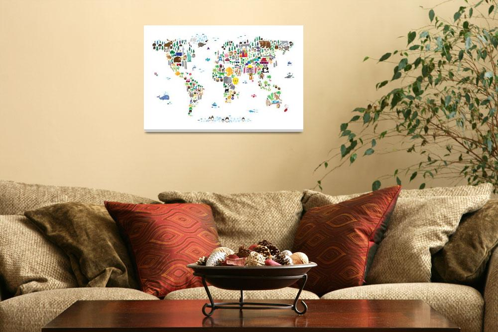 """Animal Map of the World for children and kids&quot  (2013) by ModernArtPrints"