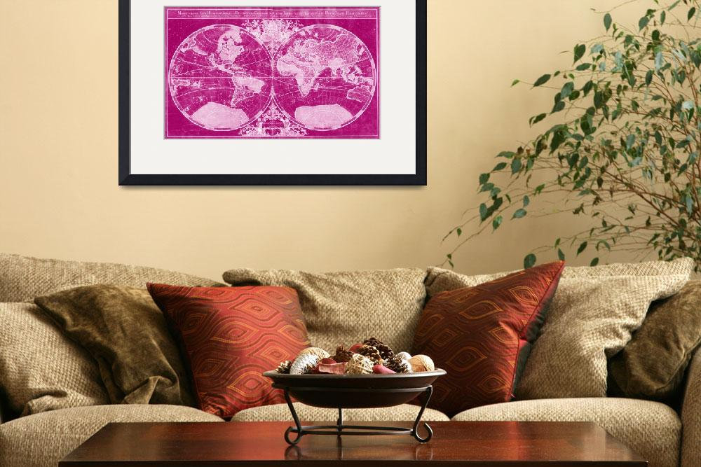 """""""World Map (1691) Pink & Light Pink&quot  by Alleycatshirts"""