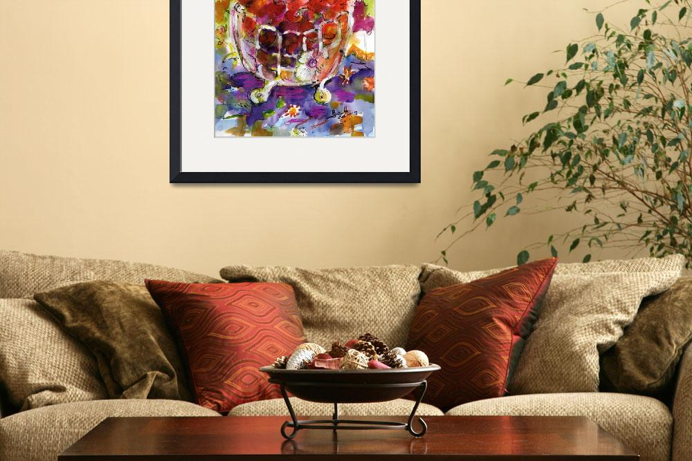 """""""Bowl Of Cherries Mixed Media Painting by Ginette""""  (2010) by GinetteCallaway"""