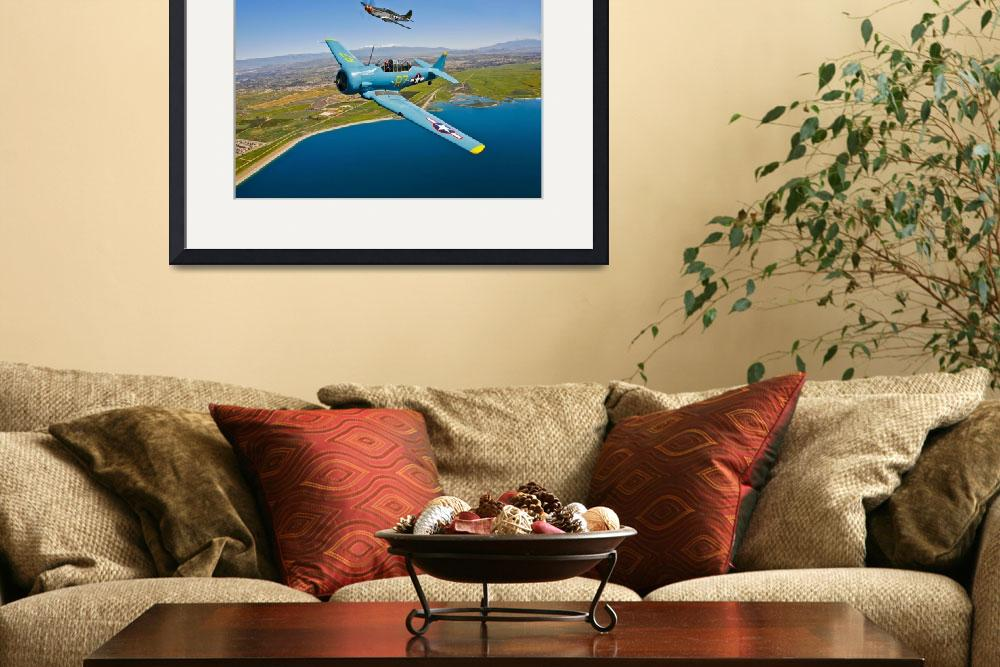 """""""A T-6 Texan and P-51D Mustang in flight over Chino&quot  by stocktrekimages"""