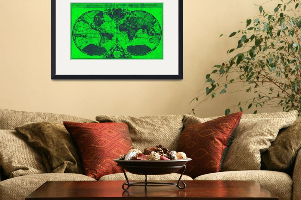 """""""World Map (1691) Green & Blue&quot  by Alleycatshirts"""