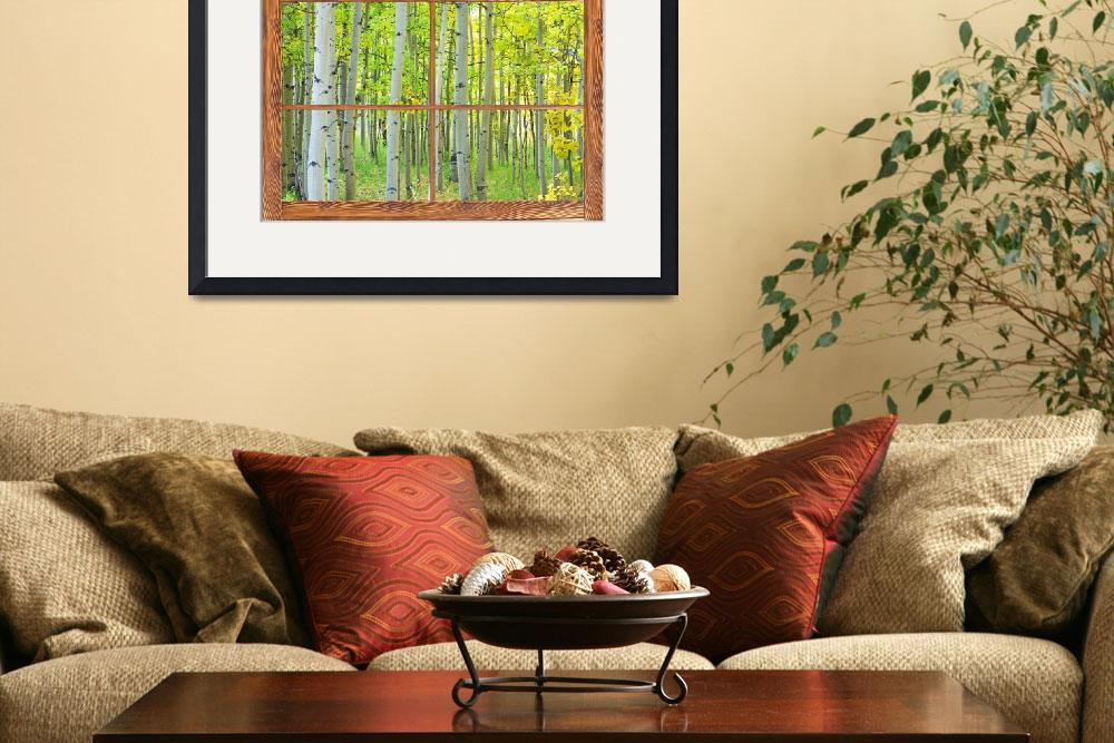 """""""Aspen Tree Forest Autumn Picture Window Frame View&quot  (2012) by lightningman"""