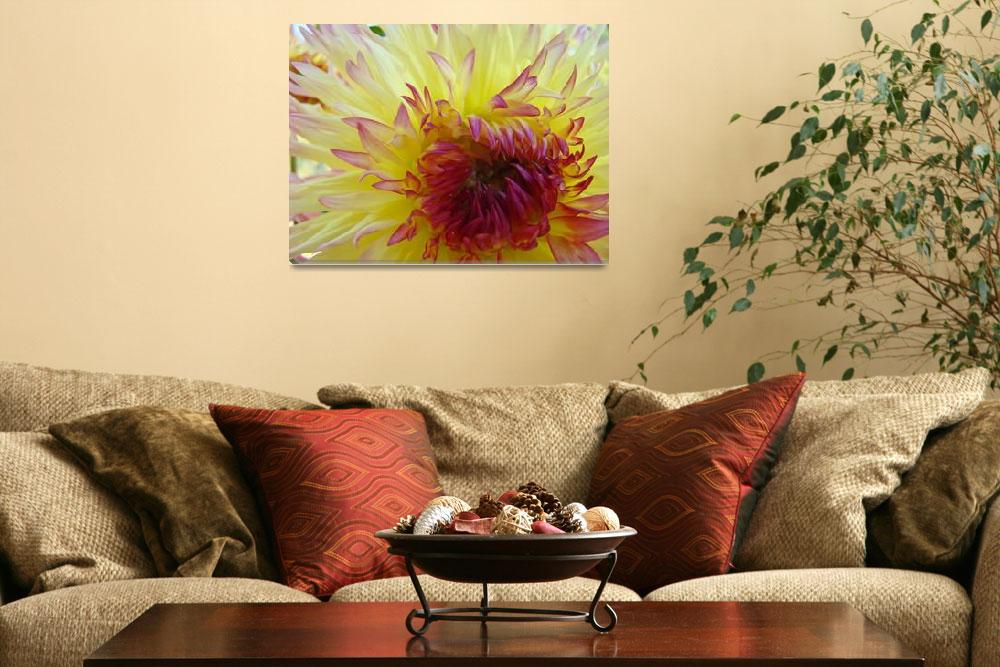 """""""Yellow Red tipped Dahlia Flower Floral""""  (2011) by BasleeTroutman"""