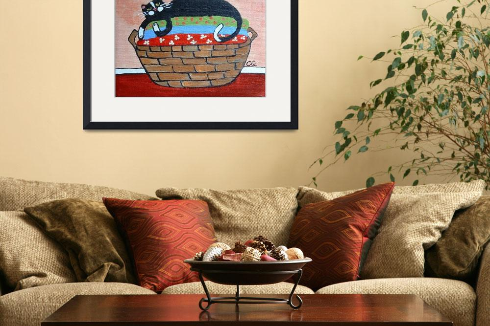 """""""Cat on Laundry Basket&quot  by ChristineQuimbyArt"""