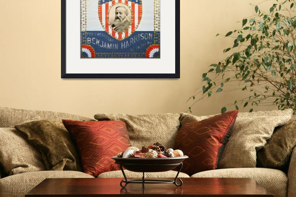"""""""Republican Election Poster for Benjamin Harrison&quot  by fineartmasters"""