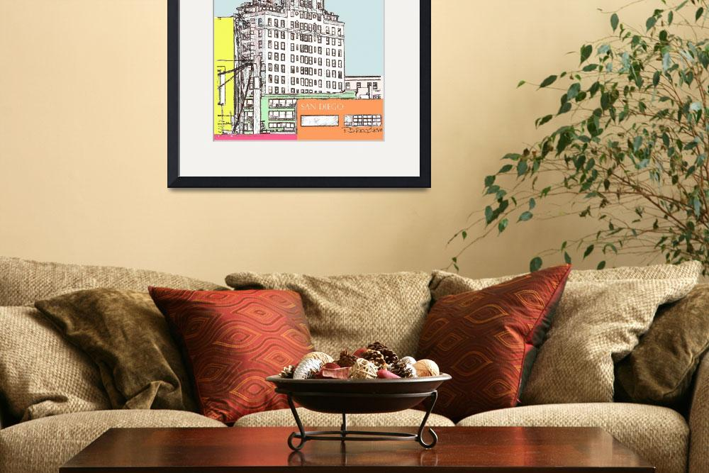 """El Cortez Color Drawing by RD Riccoboni&quot  by RDRiccoboni"