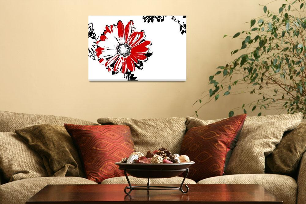 """""""Gerbera - Black White And Red Series&quot  (2013) by bettynorthcutt"""