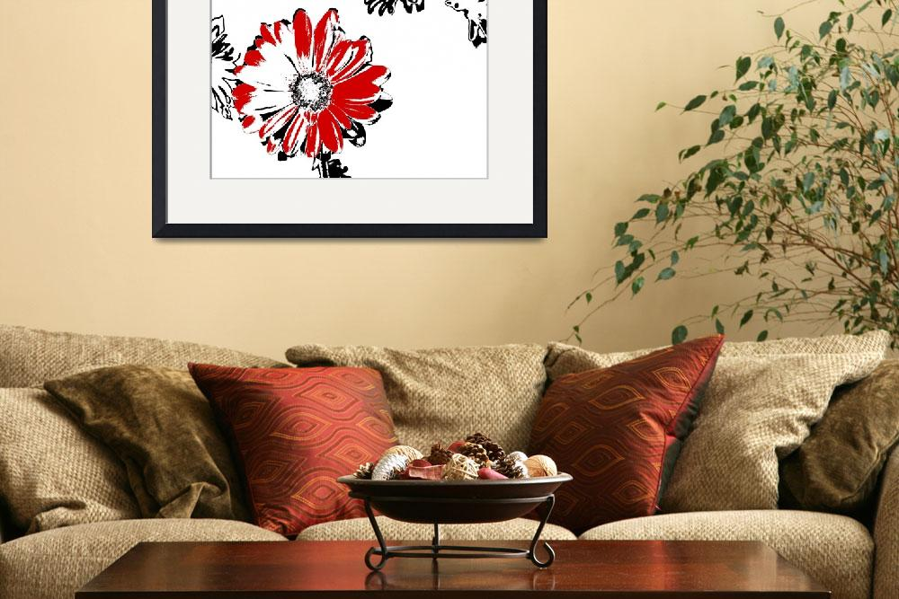 """Gerbera - Black White And Red Series&quot  (2013) by bettynorthcutt"
