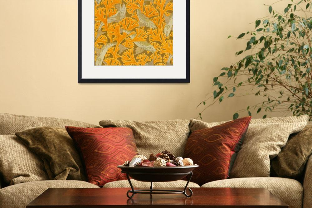 """Vintage Art Deco Fish and Yellow Coral Design&quot  by Alleycatshirts"