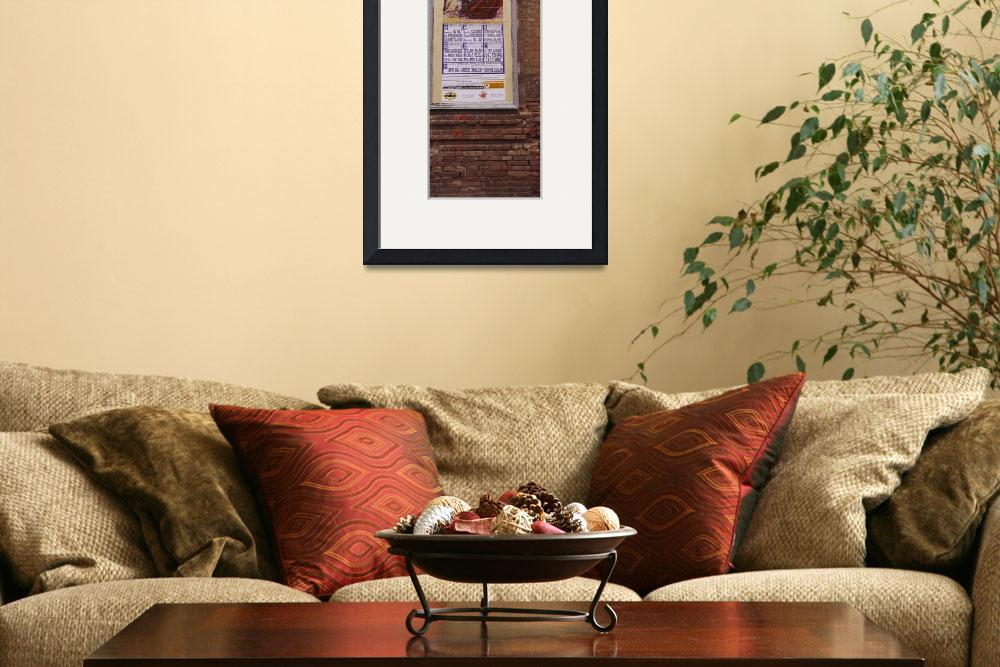 """""""Low angle view of a poster on a wall of a bullfig&quot  by Panoramic_Images"""
