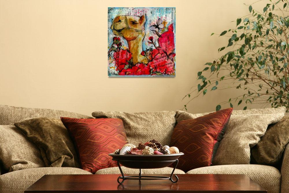"""camel painting | animal art | mixed media | flower""  (2017) by schulmanart"