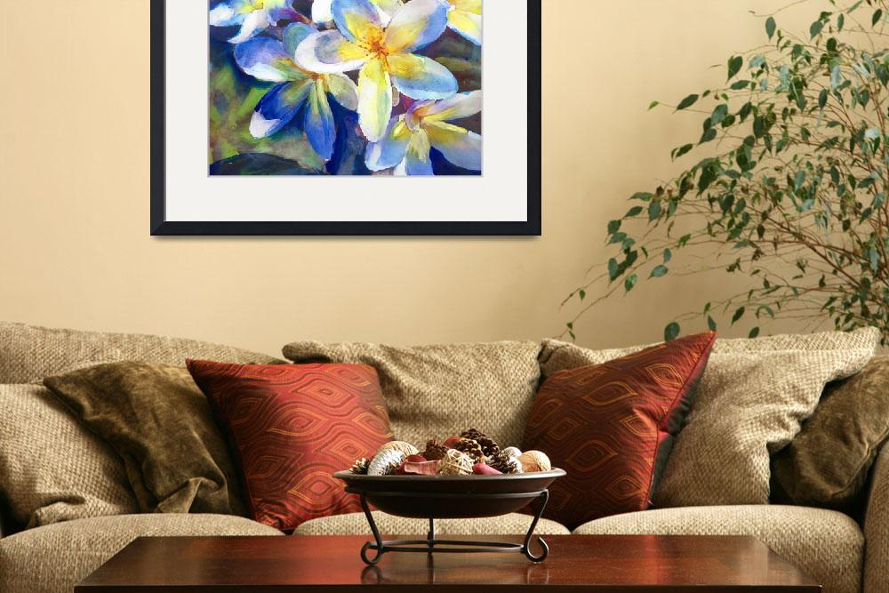 """""""Plumeria Blue yellow Water Color&quot  by RDRiccoboni"""