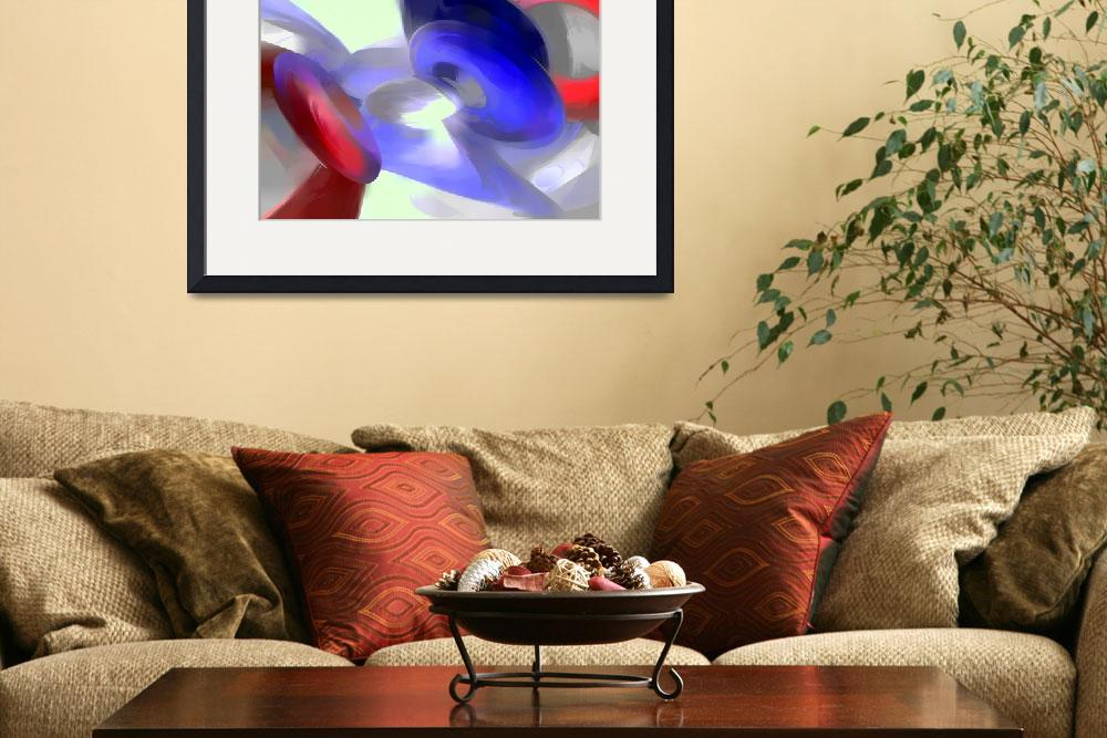 """""""Red, White and Blue Pastel Abstract&quot  (2013) by AlexButler"""