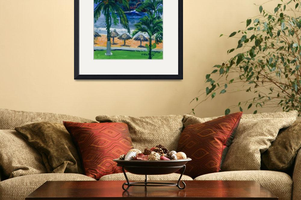 """Beach, Palms and Palapas in Huatulco Mexico Print""  (1998) by KeatingArt"