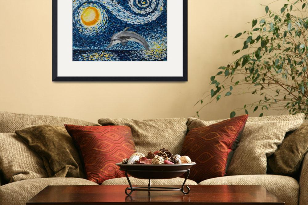 """""""Starry Night Dolphin&quot  (2015) by waynecantrell"""