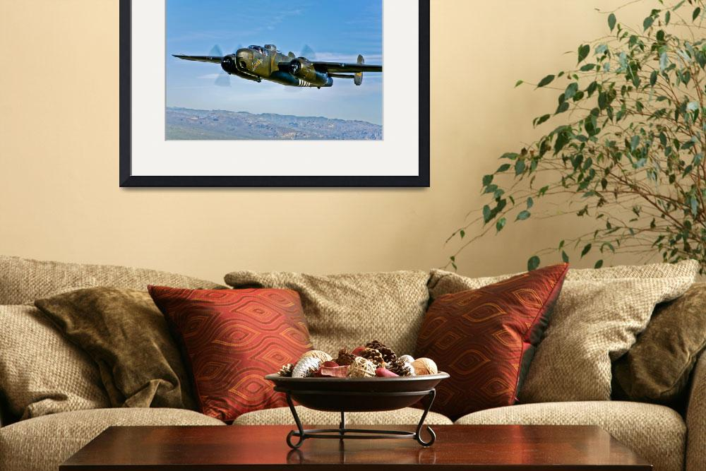 """""""North American B-25G Mitchell bomber in flight nea&quot  by stocktrekimages"""