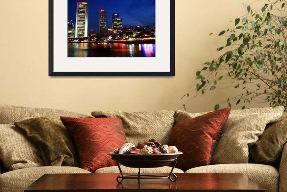 """""""Singapore River Night, Urban Landscape&quot  (2013) by sghomedeco"""