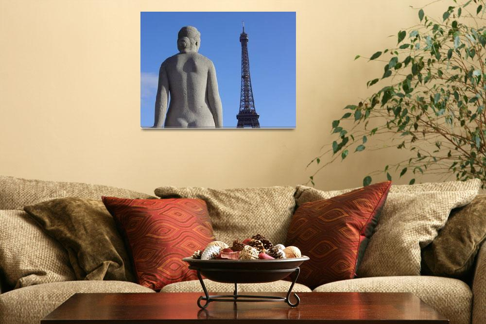 """Statue looking out at the Eiffel Tower Feb 2007""  (2007) by jamiejohn"