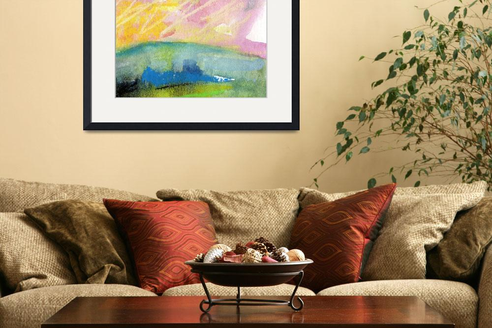 """""""Pink Sky Landscape WC and Pastel by Ginette&quot  (2011) by GinetteCallaway"""