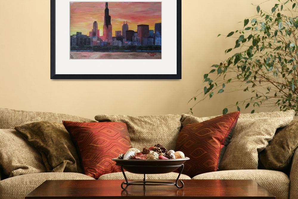 """""""Chicago Skyline at Sunset&quot  (2013) by arthop77"""