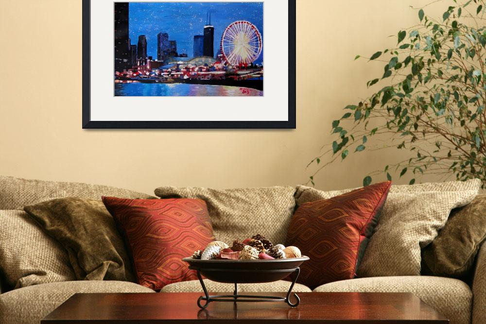 """""""Chicago Skyline with Ferris Wheel&quot  (2013) by arthop77"""