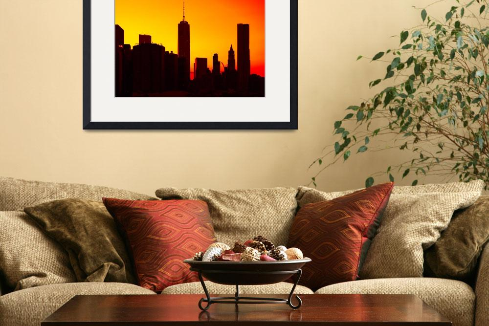 """""""Lower Manhattan Sunset Silhouette&quot  (2014) by New-Yorkled"""