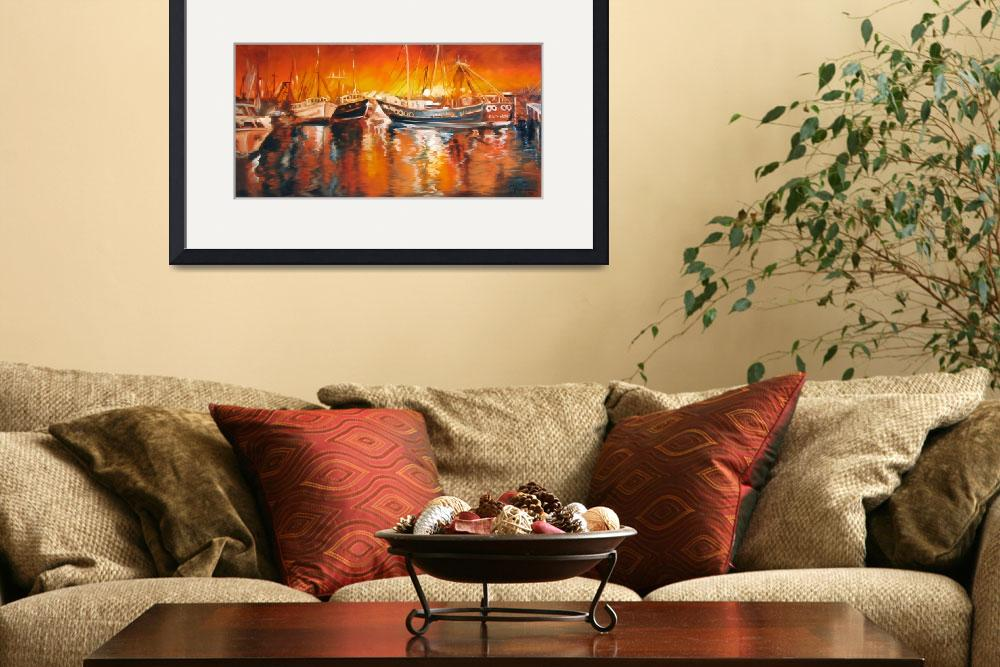 """""""FISHING BOATS AT DUSK&quot  (2008) by MBaldwinFineArt2006"""